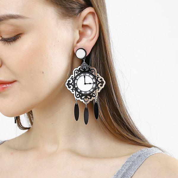 Designer Earrings French Long Tassel Wall Clock Dangle Acyrlic Personalized Big Drop Earrings 2019 New Fashion