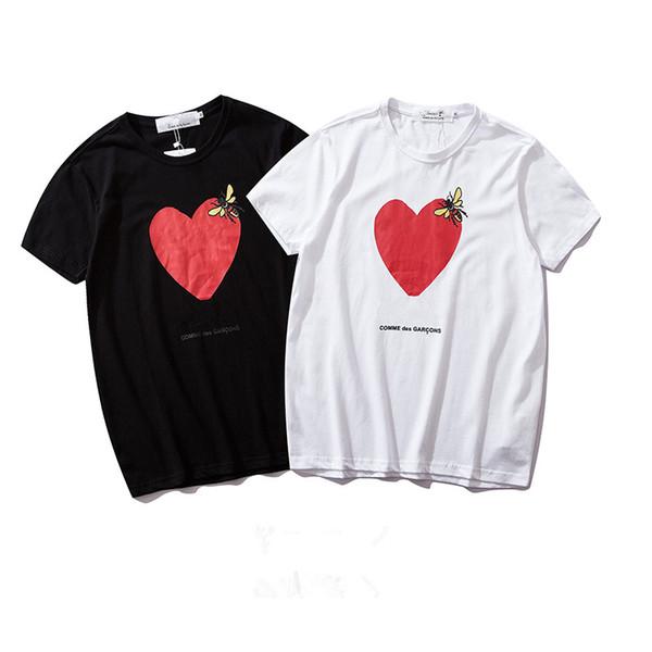 Mens Womens Tasarımcı Tshirt Aşk Baskılı Kısa Kollu Yuvarlak Boyun Pamuk Tshirt 2 Renkler ile Asya Boyutu S-XL