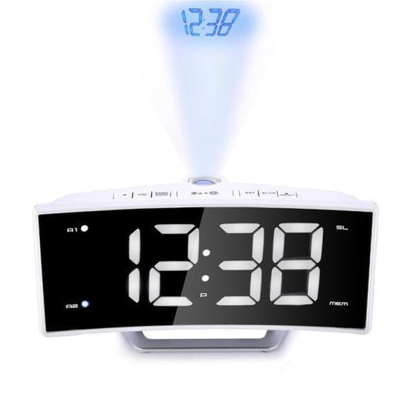 Zaman Projeksiyon ile Ayna FM Radyo Çalar Saat LED Dijital Elektronik Tablo Projektör İzle Danışma Nixie Projeksiyon Çalar Saat