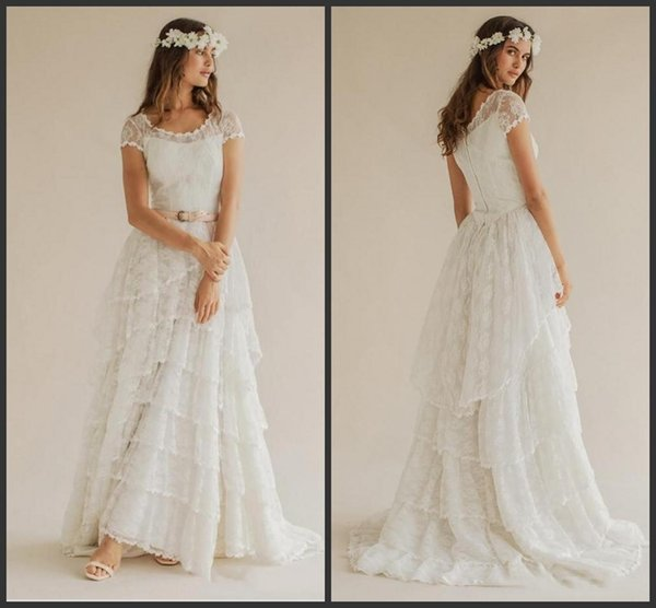 Bohemian 2019 New Summer Beach Wedding Dresses Boho Lace Scoop Short Sleeve Tiered Long Bridal Gowns Custom Made China 1189