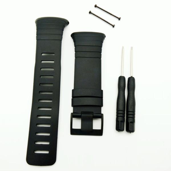 T-AMQ 35 mm Montres Hommes Fit Pour Suunto Core Sangle Standard Tout Noir PVD Boucle Montre Bracelet / Sangle + Fermoir Vis + Outil-05