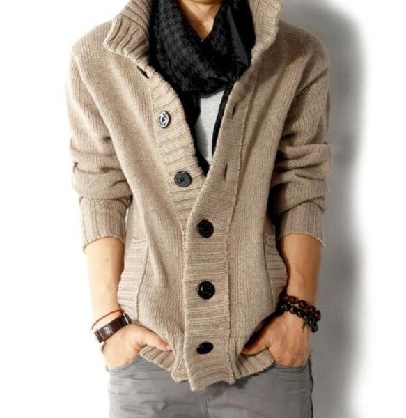 Мода мужские трикотажные Кардиган Свитера Пальто Трикотаж Повседневный Sweatercoat Outwear куртка Новая одной кнопки Slim Fit
