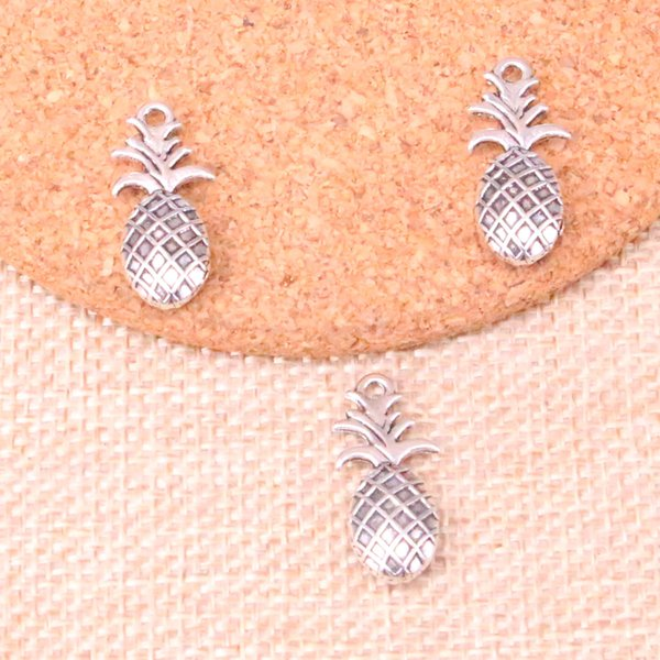 67pcs Charms double sided pineapple Antique Silver Plated Pendants Fit Jewelry Making Findings Accessories 23*10mm