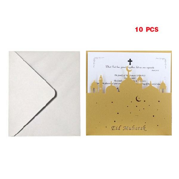 Compre 10 Unidades Laser Cut Eid Mubarak Tarjetas De Invitación Del Banquete De Boda Sobre Interior Ramadán Musulmán Tarjeta De Felicitación De Regalo