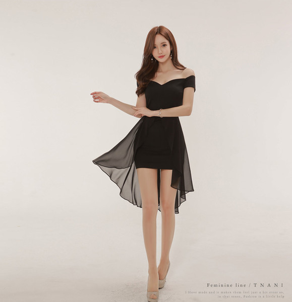 Hot Summer Wear Coreano Sexy Barra Pescoço Chiffon Splicing Andorinha Cauda Vestido Hip Saia Preta A0086