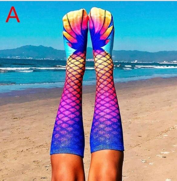 3D Animal Mermaid Socks Cosplay Fish scale Printed Socks For adult women girls Home Warm Stocking 16 Styles