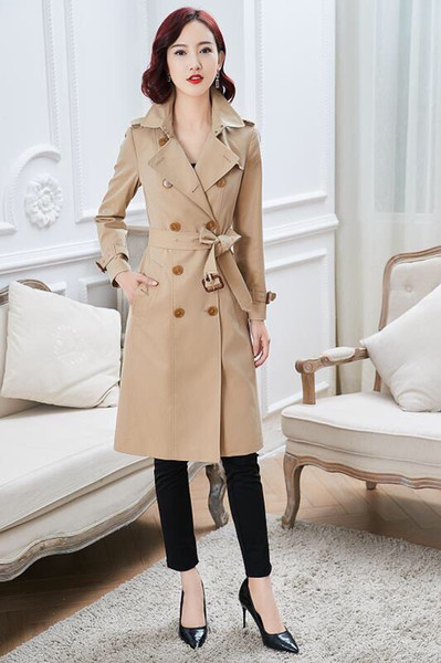 women's trench coats gabardine long windbreaker belt waterproof new english style autumn winter solid color british loose leisure a16a