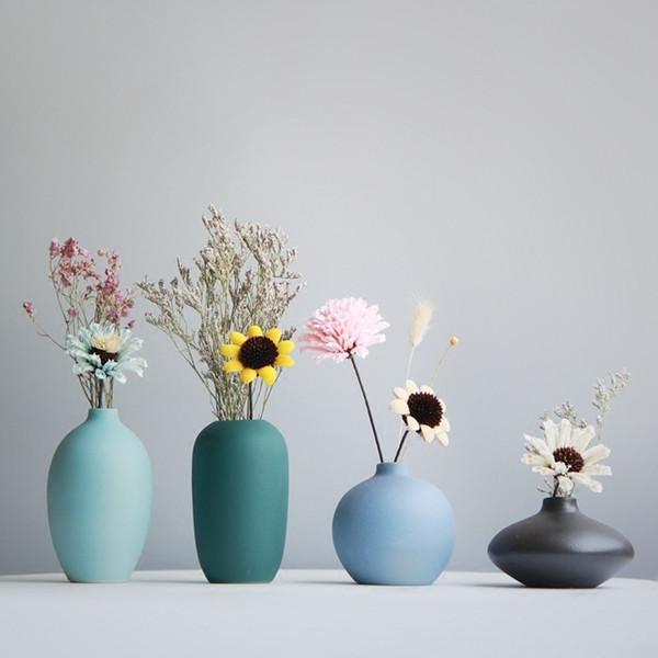 Vaso di fiori in stile giapponese Vaso di fiori in ceramica colorata Minimalista Desktop Mini vaso Vaso decorativo per la casa Y19062803