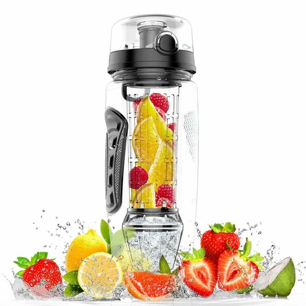 32oz Fruit Infuser juice Shaker Sports Lemon Water Bottle Tour Hiking Portable Climbing Camp Bottles 7 colors MMA2023