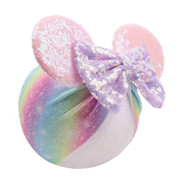 Baby Sequin Bow Hairband 10 Designs Infant Bowknot Elastic Wrap Headband Kids Mermaid Headdress Hair Decor 50 Pieces DHL