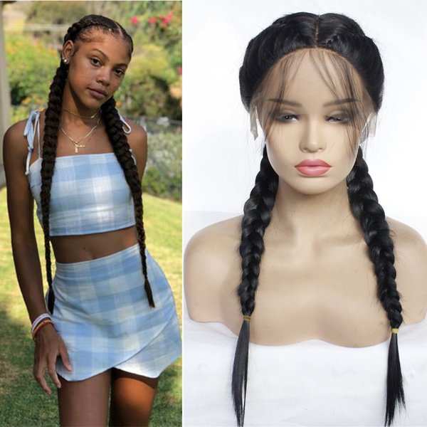 Double Braideds Lace Front Wig Braided Synthetic Hair Wigs Long Straight hair with Baby Hair Heat Resistant Cosplay Braided Synthetic Wig