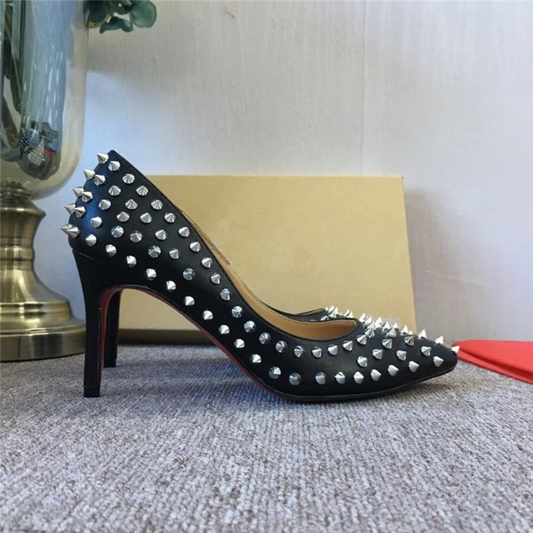 103aeafba1c 2019 Luxury Brand RED BOTTOM High Heels Black rivets With Shallow Mouth  Women s Dress Shoes Fashion Spikes Pumps 8 10 12CM