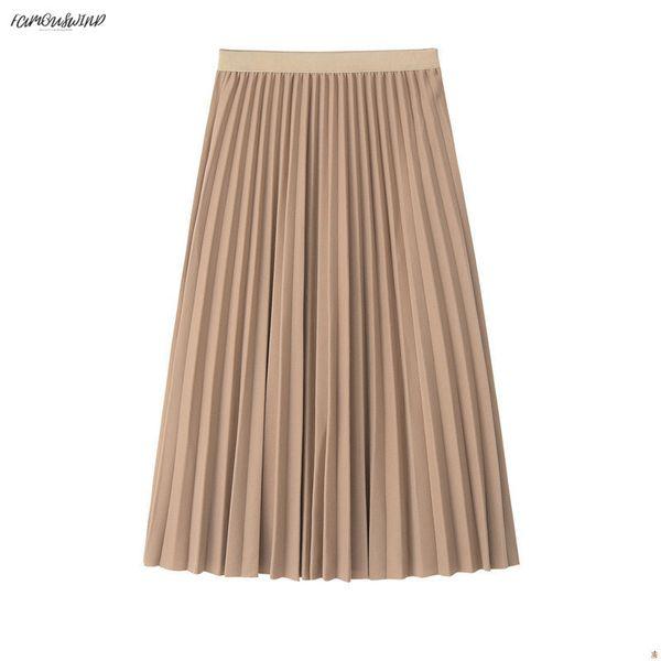 Женская юбка 2019 с высокой талией Женская плиссированная юбка-миди Женская джемперская женская юбка-мидия Saia A-Line Vintage Spring Skirt