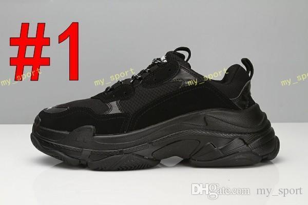 Hot2019 Moda Paris 17FW Triplo-S Sneaker Triplo S Casuais Pai Sapatos para Mulheres Dos Homens Bege Preto Ceahp Designer De Esportes Tamanho da Sapata 36-45