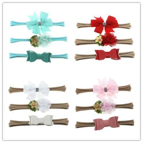 15 Farbe Baby Stirnbänder Set Chiffon Shabby Flower Bow Haarbänder Kids Elastic Nylon Stirnbänder für Mädchen Kinder Haarschmuck