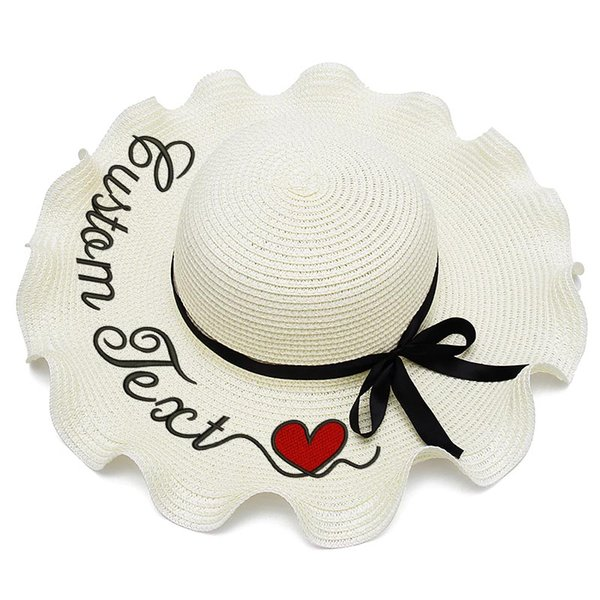 Embroidery Personalized Custom LOGO Name Women Sun Hat Large Brim Straw Hat Outdoor Beach hat Summer Lotus leaf Heart Caps