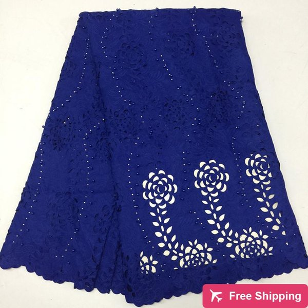 TPY1067 Free shipping (5yards/pc) cotton lace fabric in blue embroidery fancy Swiss voile lace with many beads for party dress