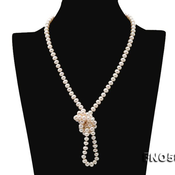 "JYX Pearl super Long Sweater Necklace natural freshwater 6-7mm White Pearl Necklace Long Sweater Chain 33"" wearing beautiful"