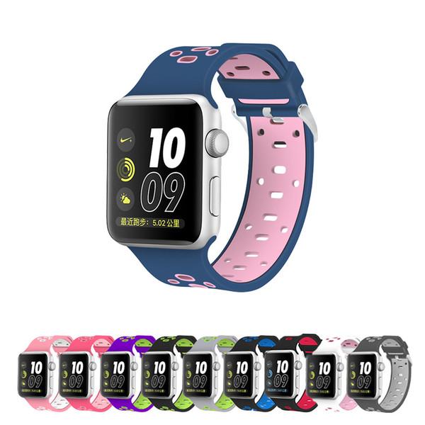 sport Colore silicone morbido cinturino di ricambio per orologio di Apple 5 4 3 2 1 Sport cinturino per iWatch 38 40 42 44 millimetri bande con connettore