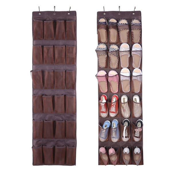 24 Pockets Transparent Over The Door Closet Organizer Bag Shoes Slippers Storage Display Tidy Wall Hanging Bags Q190610