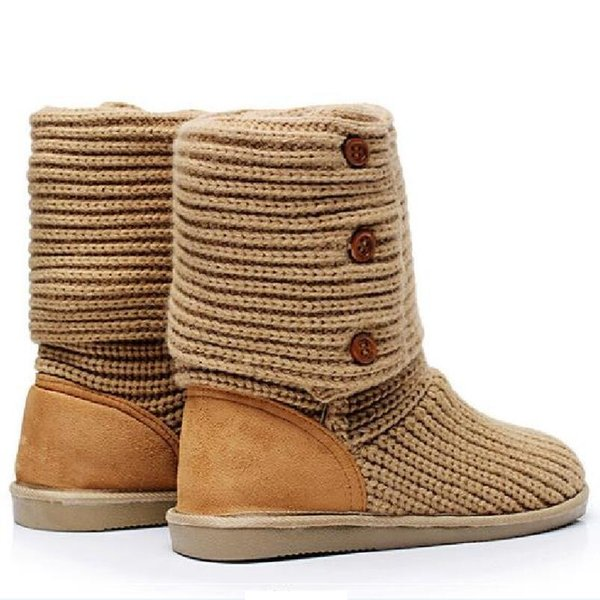 2019 New Arrival Women Winter Flats Fashion Warm Woolen Yarn Mid Half Boots Knitting Wool Yarn Snow Boots Size 35 39 SXQ0905 Black Boots Boots
