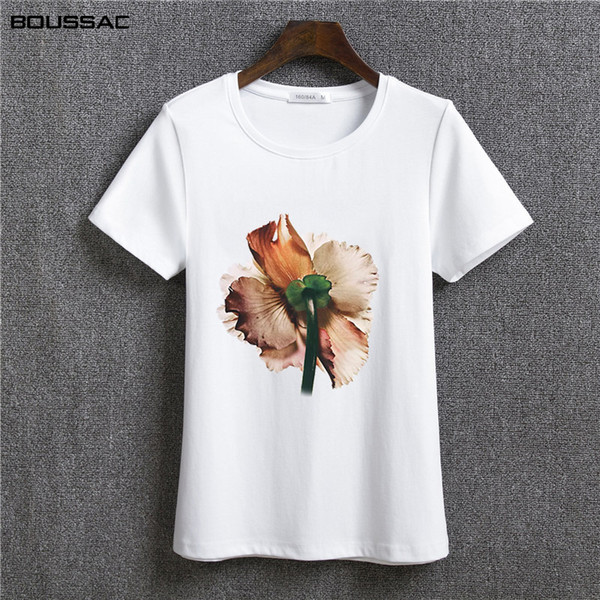 Harajuku Shirt Women Clothes 2019 Fashion Short Sleeve Female T-Shirt White Flower Art Printed Cotton Top Tees Casual O Neck