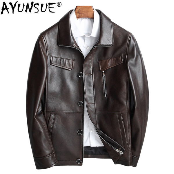 AYUNSUE Genuine Leather Jacket Men Korean Sheepskin Coat Spring Motorcycle Jacket Leather Coats Men Chaqueta Cuero Hombre KJ1583