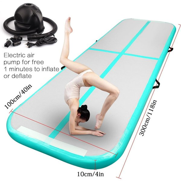 Free Shipping 3x1x0.1m Mint Inflatable Gymnastics Airtrack Floor Tumbling Air Track Inflatable Air Mat For Kids Free One Pump