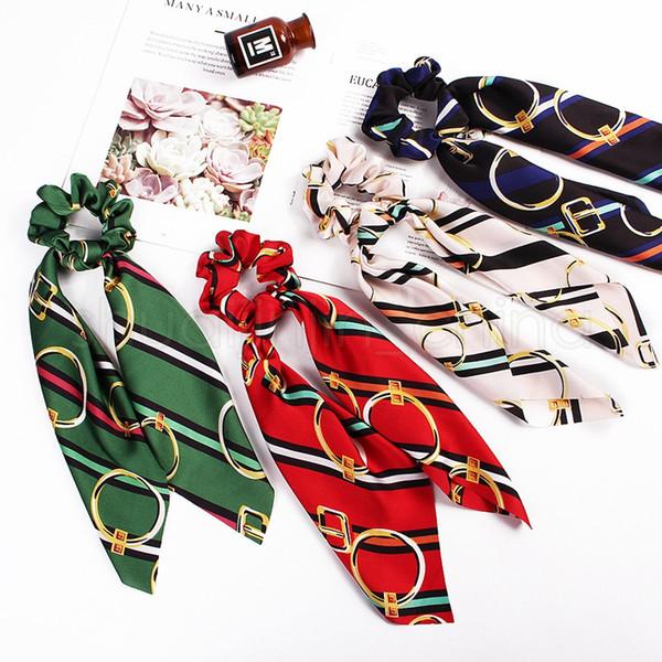 Mode Femme Ponytail Hairband Mignonne Lady Uniformes Satin Foulards Rétro Imprimé Bandeau Affaires Foulards En Soie Ruban Foulard