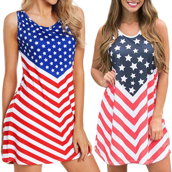 2019 Ladies Patchwork Striped Dresses Beach Vintage Mini Stars Dresses  American Flag Independence National Day USA 4th July Plus Size Dress S 3XL  From ...