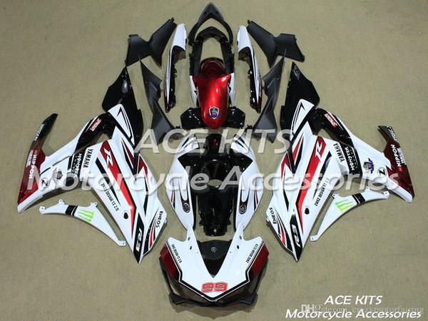 ACE KITS Motorrad-Verkleidung für YAMAHA R25 R3 2015-2016 Einspritz- oder Kompressionskarosserie glänzend weiß rot + TANK NO.2325