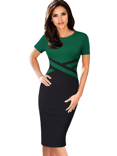 Vfemage Women Vintage Elegant Colorblock Contrast Color Patchwork Wear To Work Vestidos Business Party Office Bodycon Dress 1998 J190530