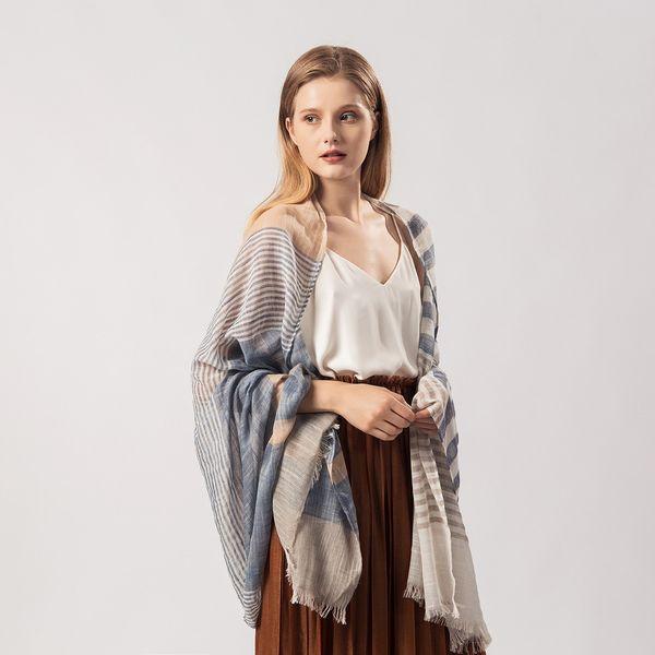 2019 primavera y verano moda plata seda raya larga suelta whisky tejido salvaje mantón toalla de playa bufanda larga