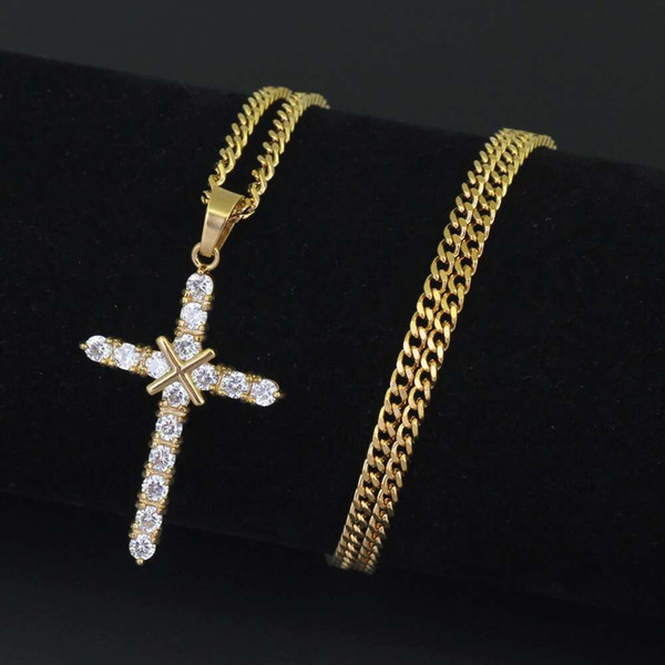 hip hop cross diamonds pendant necklaces for men women luxury necklace Stainless steel Cuban link chains Religion Christianity jewelry