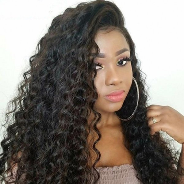 Mongolian Human Hair Full Lace Wig Natural Color Deep Wave Lace Front Wig with Baby Hair Pre Plucked Hairline Ping