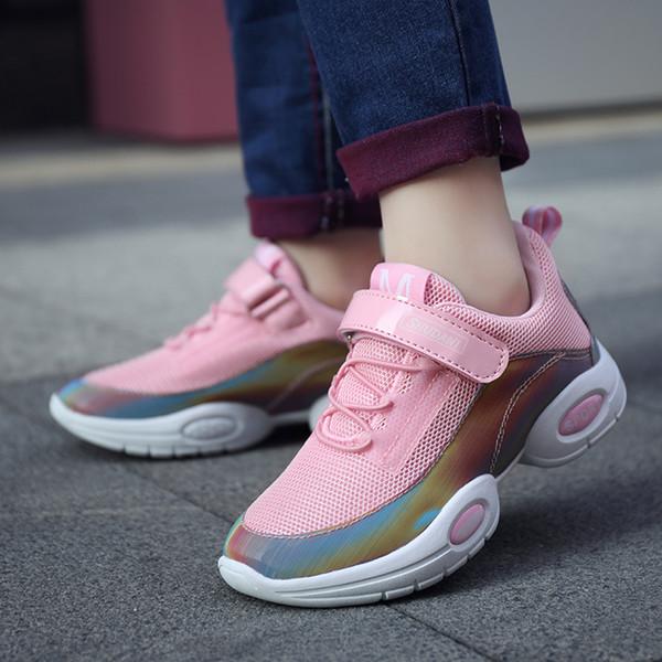 Sapatos de verão respirável Luz crianças para Sapatos Girl Fashion Magia Postar Meninas Sneakers Casual Macio Crianças Tamanho 28-38