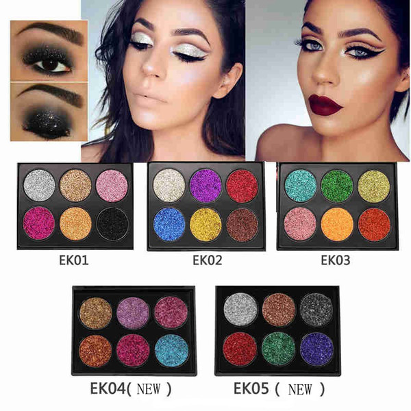 NEW POPFEEL 6 Color Makeup Glitter Eyeshadow Palette Metallic Makeup Palette Waterproof Brighten Eye Glow Shimmer Pigments Cosmetics