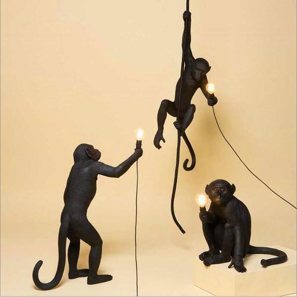 Modern Reçine Siyah Maymun Lamba Loft Tarzı Kenevir Halat Siyah Maymun Lamba Avizeler Aydınlatma Kolye Asılı Tavan Armatürleri