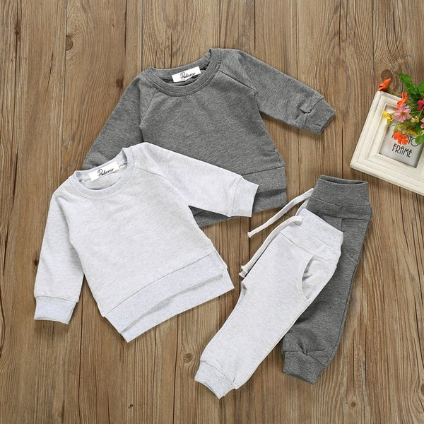 Newborn Baby Boy Clothes Set 2020 Spring Winter Long Sleeve Solid Sweatshirt Shirts +Pants Outfits 2Pcs Boys Tracksuits