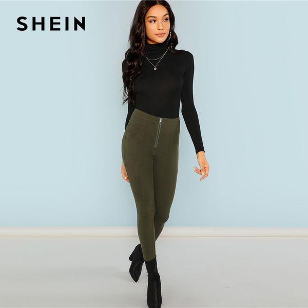 4b2c93a3bc09 SHEIN Black Turtleneck Slim Fit T-shirt Workwear Office Ladies Plain High  Neck Long Sleeve
