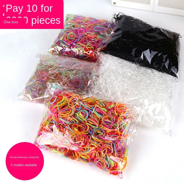 top popular A pack of 2000 children's hair-tied disposable cute colorful rubber Hair rubber band children's hair band TPU Pi Jin 2021