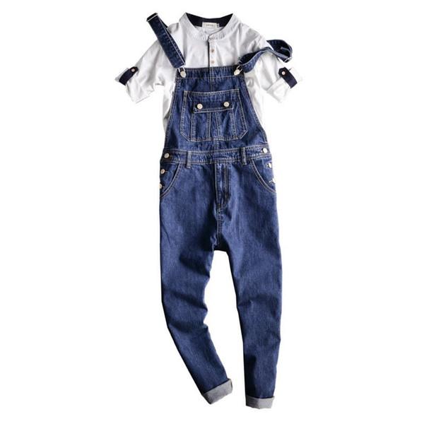 Fashion Male Overalls Jeans Pants Casual Distressed Jeans Denim Jumpsuits Hip-Hop Men's Slim Fit Blue Bib Overalls 092701