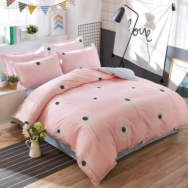 Romantic Pink Dandelion Bedding Sets Girls Kids Beauty Bed Linen Cotton Bedclothes 4pcs Include Duvet Cover Bed Sheet Pillowcase