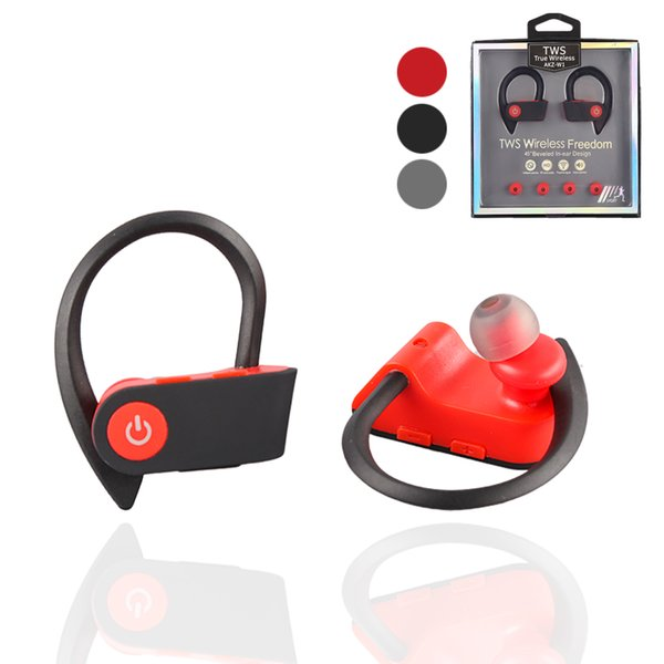 W1 tws sports wireless bluetooth earphones headphones BT4.2 ture stereo wireless earbuds ear hook with mic and retail package