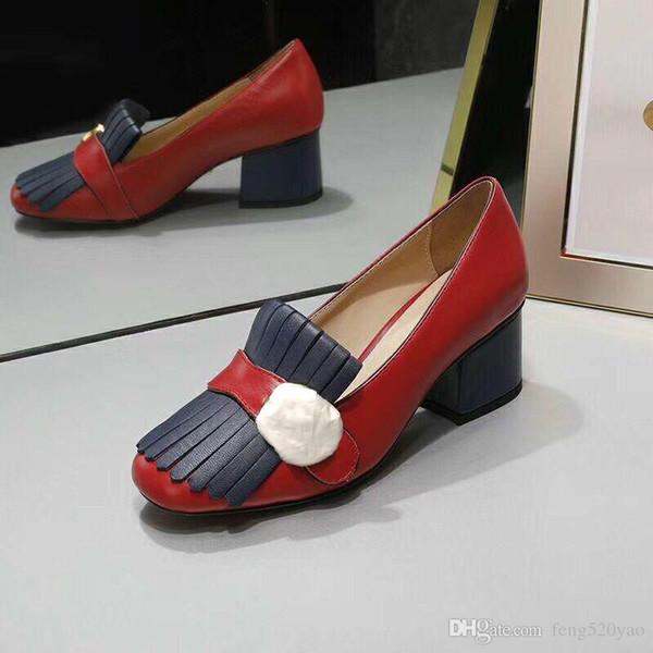 Klasik Orta topuklu tekne ayakkabı lüks Tasarımcı deri Meslek yüksek topuklu Ayakkabı Püsküller Metal Düğme kadın Elbise ayakkabı Büyük boy 34-42