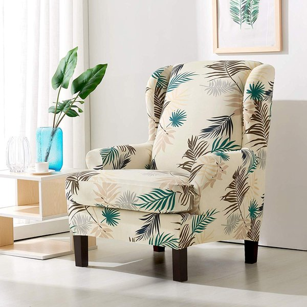 Astonishing Subrtex Wing Chair Slipcovers Stretchy Wingback Armchair Covers Detachable Spandex Sofa Covers Leaves Printed Furniture Protector Slipcovers For Gmtry Best Dining Table And Chair Ideas Images Gmtryco