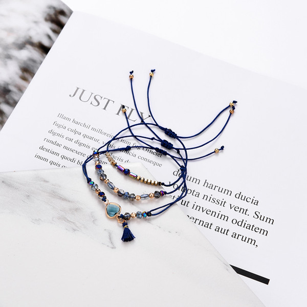 Factory Direct Sale New Design Small Colorful Crystal Beads Bracelet Natural Gemstone Charm Bracelet with Tassel