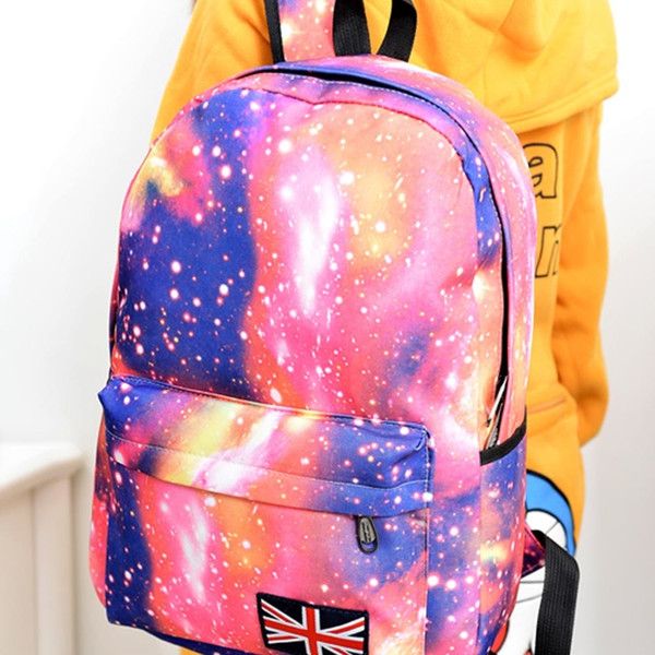 2019 New Fashion Unisex Stars Universe Space Printing Backpack School Book Backpacks British-flag Shoulder Bag Fab Women Bag