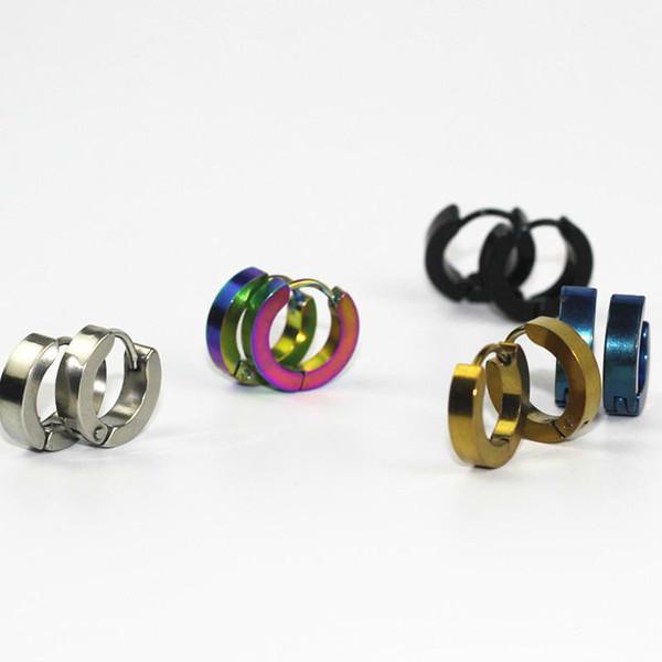 Promotion Earrings Jewelry Silver Gold 316L Stainless Steel Hoop Earring For Women Men Ear Rings Clip Colored Circle Earrings