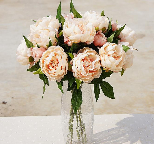 Haute qualité fleurs artificielles pivoine 3 têtes en soie fleurs décoration de la maison fleurs de mariage Livraison gratuite